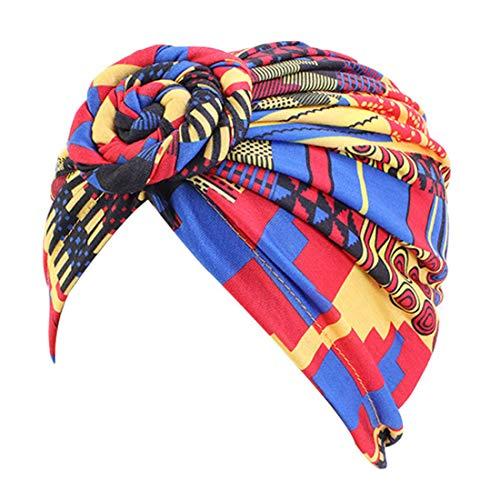 YONKINY Sombrero Turbante Mujer Bohemia Moda Turbante Africano de Nudo Flor étnico Pañuelo Cabeza Elástico Vórtice Gorros de Algodón de Dormir para Quimio Cancer