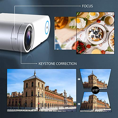 Mini Projector, GooDee 5000 Lumens Portable HD Video Projector 200″ Display 1080p Supported LCD Home Movie Projector Compatible with TV Stick HDMI VGA Av USB Micro SD (Medium)