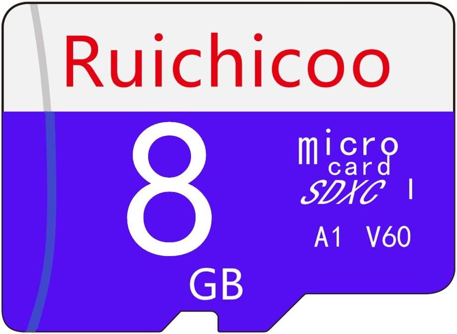 Ruichicoo 8GB Memory Card,High Speed Class-10 Memory Card with Adapter - V60, C10, U3, Full HD, A1, UHS-I (8GB)
