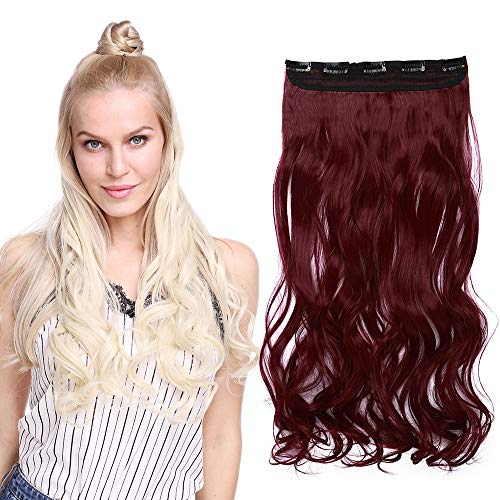 Monobande Cheveux A Clip Pour Extension Longue Rajout Cheveux A Clip Synthétique Cheveux Ondulé Une Pièce 5 Clips, 24 Pouces, Rouge Violet