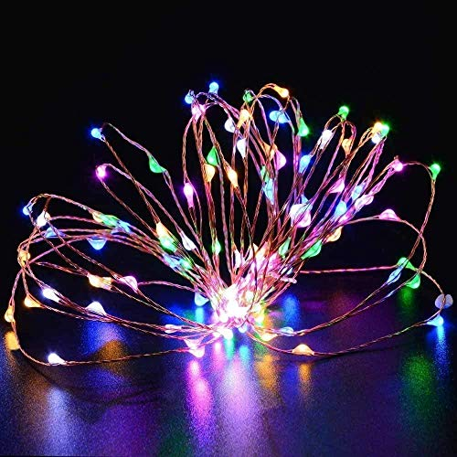 Raelf 16.4 pies 50 LED RGB Fairy LED línea luz al aire libre, impermeable línea de alambre luz batería correr estrella luciérnaga línea luz botella jardín dormitorio boda Navidad decoración luz