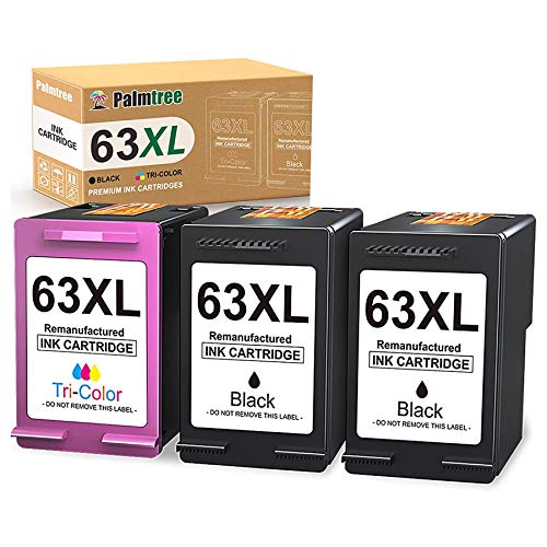 Palmtree Remanufactured Ink Cartridge Replacement for HP 63XL 63 XL Fit with HP Envy 4520 4512 4516 OfficeJet 4650 5255 3830 5258 Deskjet 2130 3630 3632 3633 1112 Printer (2 Black, 1 Color)