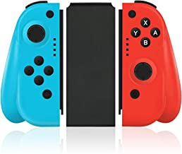 $39 » Wireless Joy Pad Controller for Nintendo Switch, Replacement Joy Con with Redesigned Ergonomic Hand Grip Comfortable Handheld Gamepad Joy-Con Remote (Neon Red & Neon Blue)