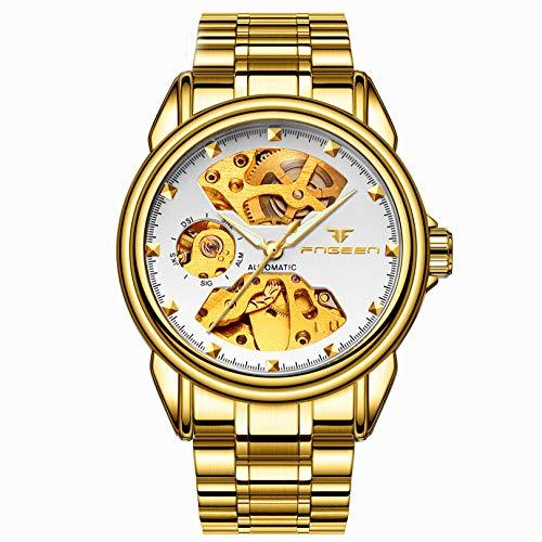 XK Orologio Meccanico da Uomo A Due Lati con Orologio Meccanico A Carica Automatica,(Male) goldwatch-Whiteface