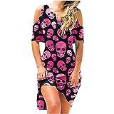 pamkyaemi Vestido de verano para mujer, largo, sin hombros, de manga corta, para la playa, elegante, largo hasta la rodilla, cuello en V, para fiestas, cócteles, graduación, noche rosa S