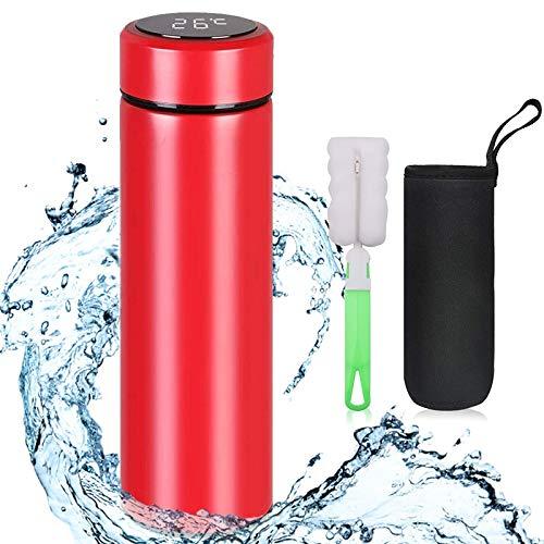 flintronic Bottiglia Acqua, Borraccia Termica 500ML Coppa da Viaggio, Tazza Intelligente LCD Temperatura Display Touch, Boccetta per Vuoto in Acciaio Inossidabile per Mantenere Caldo/Freddo(Rosso)