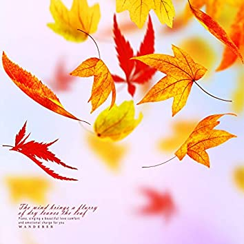 Deciduous leaves flying in the wind
