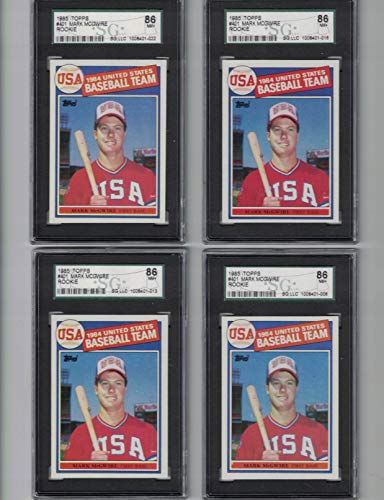 Mark McGwire/Lot of (4) 1985 Topps Rookie Cards - Graded SGC 86 NM+