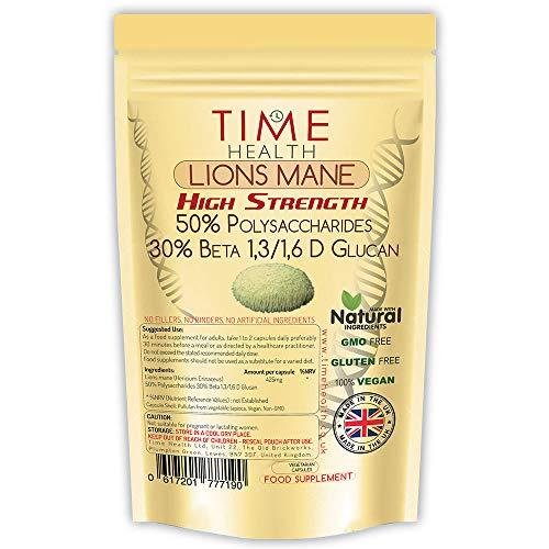Hericium Erinaceus (Lions mane) Extrakt Kapseln - Hochdosiert - Sehr stark 50% Polysaccharide/30% Beta-1,3/1,6-D-Glucan - Ohne Zusätze - Im UK hergestellt (120 Kapseln)