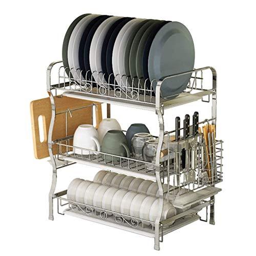 KFDQ Escurridor de platos Estante para platos de acero inoxidable de 3 niveles Bandeja para secadora de cocina Soporte para cubiertos Estante para secar platos con estante para tabla de cortar y band