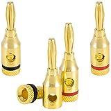 Poppstar - 4X fiches Bananes Haut de Gamme (fiche en 2 Parties), pour câbles d'enceintes (jusqu'à 4 mm²), Haut-parleurs, Hi-FI, récepteur et amplificateur AV, plaqué Or 24 carats (2X Noir, 2X Rouge)