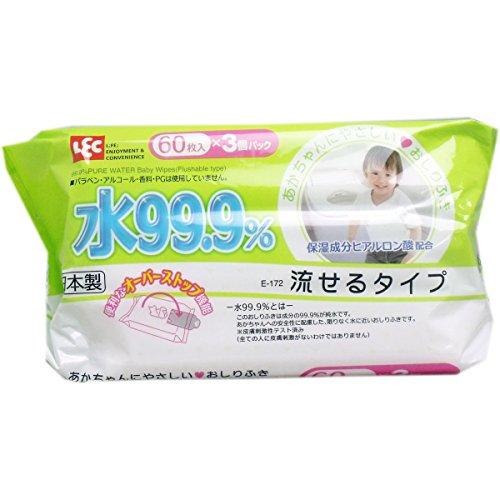 【アイプラス】99.9流せるおしりふき 60枚×3