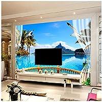 Wkxzz 壁の背景装飾画 カスタム写真壁紙3D壁画リビングルーム寝室テレビ背景壁自然風景バルコニー海景壁画壁紙-350X250Cm