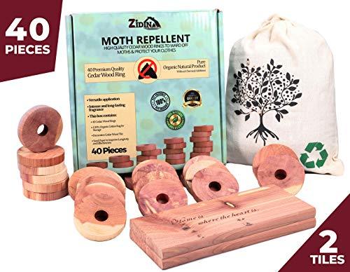 Cedar Wood Moth Wardrobe Repellent de Zidina | 40x asesino de polillas orgánico premium | La bolsa incluye azulejos decorativos de madera de cedro | repelente de insectos libre de químicos