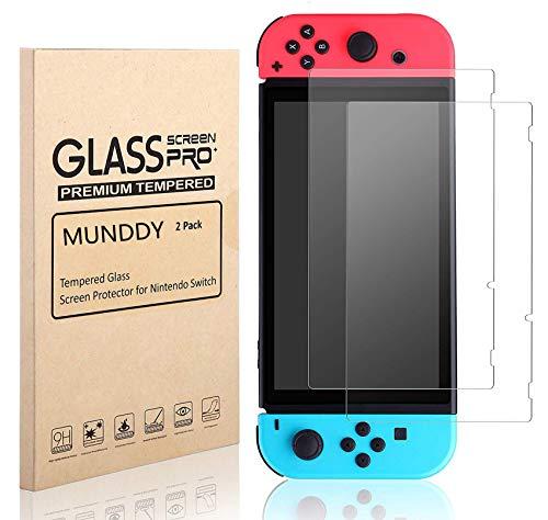 MUNDDY Pack de 2 Protectores de Pantalla de Cristal Templado para Nintendo Switch Espesor 0,30 mm,2.5D Round Edge,[9H Dureza] [Alta Transparencia] [Sin Burbujas] [Ajuste