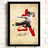 ARTMERLOD Póster de Lienzo Retro de Bruce Lee, póster de película Antigua, imágenes artísticas de decoración de Pared, Cuadros Decorativos para habitación de niños, Pintura sin Marco, 50X70Cm