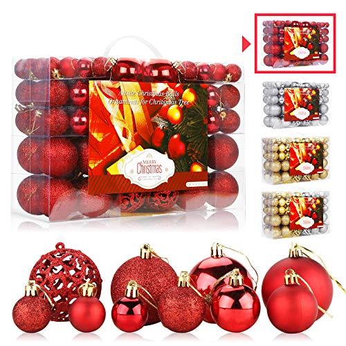 Aitsite 100PCS Palle di Natale 2CM/ 4CM/ 6CM Plastica Palle e Palline per L'Albero Impostare Ornamento Dell'Albero per la Decorazione dell'albero di Natale