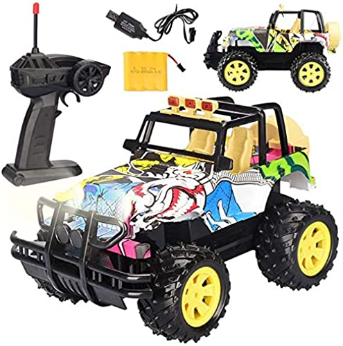SPFTOY Ferngesteuertes Auto Graffiti für Kinder Elektrisches Spielzeugauto mit Größer Fernbedienung im Ma ab 1 14 Modell eines Spielzeugautos für Offroad-Renne