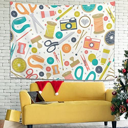 Attiubiuj Tapiz con tijeras, regla, lápiz, hilo, radio, tapiz, decoración de pared para el hogar, decoración de pared, mantel redondo, blanco, 100 x 150 cm