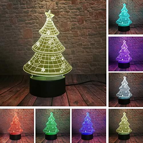 BFMBCHDJ Luminaria 3D Weihnachtsbaum 7 Farbverlauf Led Nachtlichter Stimmung Lampe Nacht Schlaf Kind Kinder Freund Geburtstag Weihnachtsgeschenke