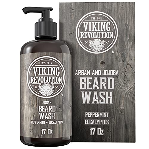 Beard Wash Shampoo w/Argan & Jojoba Oils - Softens & Strengthens - Natural Peppermint and Eucalyptus Scent - Beard Shampoo w/Beard Oil (17 oz Shampoo)