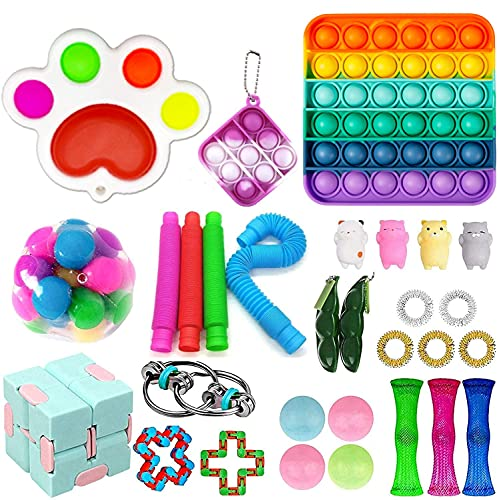 Fidget Toy Pack, 30Pcs Fidget Toys Figit Toys Packages Fidget Pack Cheap, Figetsss Toys Sets Sensory Toy for Kids Adults and Figetget Toy Kill Time