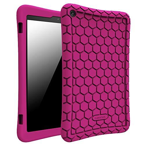 Fintie Hülle für Amazon Fire HD 8 Tablet (7. & 8. Generation - 2017 & 2018) - Leichte rutschfeste Stoßfeste Silikon Tasche Case Kinderfre&liche Schutzhülle, Violett