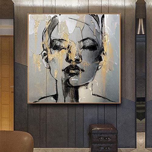 pas cher un bon KWzEQ Abstrait Or Fille Visage Toile Peinture Caractère Mode Femmes Affiche Murale et…