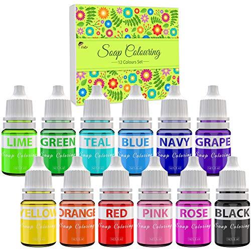 Colorants de Savon - 12 Couleurs Colorant Liquide de Savon Qualité Alimentaire pour la Fabrication de Savon, Bombe de Bain - Couleur de Bombe de Bain pour Savons Artisanaux, Artisanat Bricolage