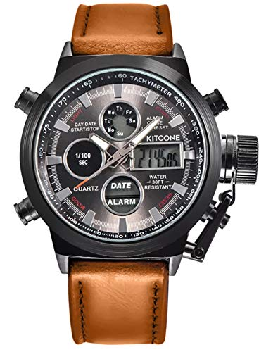 Micacchi Analogue Digital Multi Colour Dial Leather Brown Strap Stylish Watches for Men