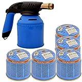 TronicXL Premium Hand Lötbrenner für 190g Stechgaskartuschen + 5 Stück Gas Kartuschen - Lötlampe Butangas Gasbrenner mit Piezozündung löten brennen