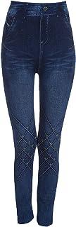 MagiDeal Leggings de Mezclilla Sin Costura Azules Gimnasio Yoga Mujeres Pantalones Deportes Estiramiento Jeggings