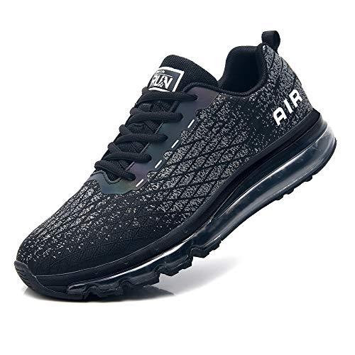 Azooken Laufschuhe Herren Damen Sportschuhe Air Cushion Turnschuhe Freizeit Fitness Outdoor Sneaker Atmungsaktiv Leichte (8998-BK42)