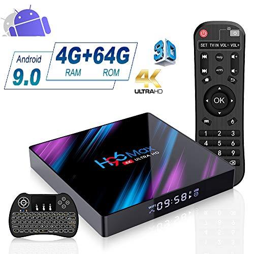 Android 9.0 TV Box 4GB RAM 64GB ROM, H96 Max Android TV Box RK3318 Quad-Core 64bits Dual-WiFi 2.4G/5G,3D Ultra HD HDMI 2.0 4K H.265 USB 2.0/3.0 BT 4.0 Smart TV Box avec Mini-Clavier