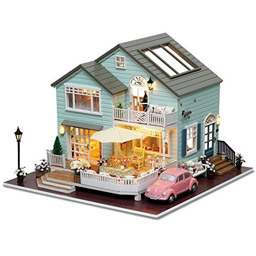 Architecture Model Building Kits with Furniture LED Music Box Miniature Wooden Dollhouse Queenstown Holidays Series 3D Puzzle Challenge
