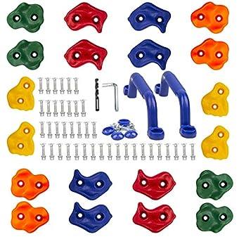 (キンスポリ) 子供用ロッククライミングホールド ブタの鼻の形のカラフルなホールド 20個 屋内 屋外 子供の遊び場の構築に 2つのブルーのハンドルと取り付け金具キット付属