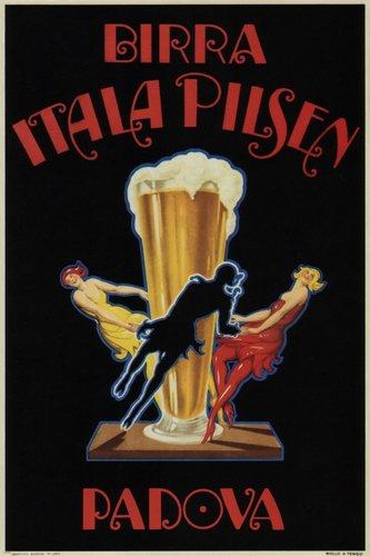 bier itala pilsen vintage ad poster Italië 1920 24X36 topkwaliteit ZEER ZELD!