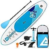 Leader Accessories Planche de Sup 320x81x15cm Sup Gonflable, capacité de Charge de 300 LBS, Planche de Stand up Paddle, Planche de Surf Sup avec Pompe à Air, Pagaie Réglable, Ligne de Sécurité