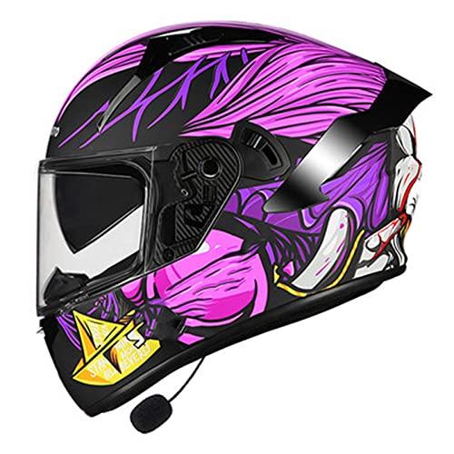 Casco de Motocicleta Integrado Bluetooth,Bluetooth Integrado Casco de Moto Modular con Doble Visera Anti Niebla DOT/ECE Homologado para Adultos Hombres Mujeres E,XXL=62~63CM