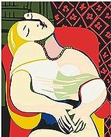 数字で抽象女性DIY絵画家の壁の芸術の装飾部屋の装飾のための現代の女の子の絵の着色D40X50MM(フレーム付き)
