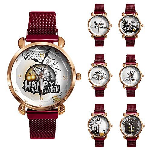 Sar546fgRob Mädchen, Frauen Armbanduhr Mit Kürbislaterne Design Magnetic Round Dial Analog Quarzuhr fünfzehn#