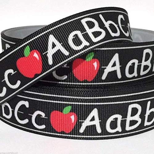 Grosgrain Ribbon 5/8' ABC Apple Back to School Kids Writing Printed Per Yard
