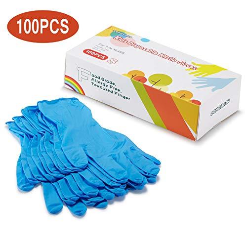 Guantes desechables de nitrilo para niños de 7 a 14 años, sin látex, de calidad alimentaria, sin polvo, para manualidades, pintura, jardinería, cocina, limpieza, 100 unidades, color azul