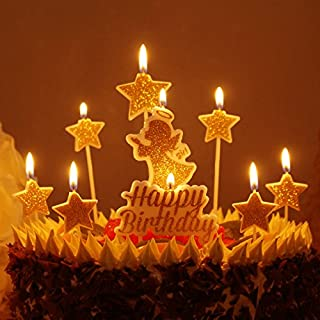 W Gold Happy Birthday Candles Glitter Angel Star Cake Toppers Baby Girls Party