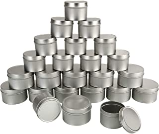 Candle Tin Cans with Lids - 24Pieces(6oz-12 Pieces,4oz-12 Pieces) Silver Tin Cans, - for Candles, Arts & Crafts, Storage, ...