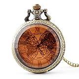 HUAQINEI Reloj de Bolsillo,Accesorios de Reloj,Venta al por Mayor,Reloj de Bolsillo de Doble Planeta de Vidrio Tintado,Reloj de Bolsillo de Cuarzo Retro Informal Unisex