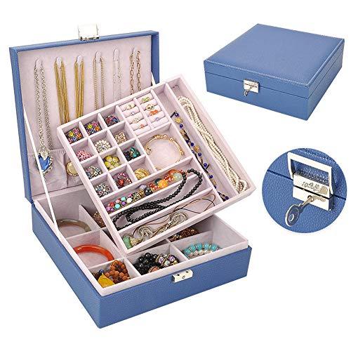 Caja de joyería de cuero multicolor de doble capa caja de joyería con cerradura de gran capacidad caja de almacenamiento de joyería anillo collar caja de almacenamiento de la joyería-Royalblue