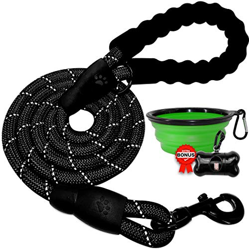 BARKBAY Dog Rope Leash Heavy Duty Dog Leash for Large Dog with Comfortable Padded Handle and Highly Reflective Threads 5 FT for Small Medium Large Dogs(Black)