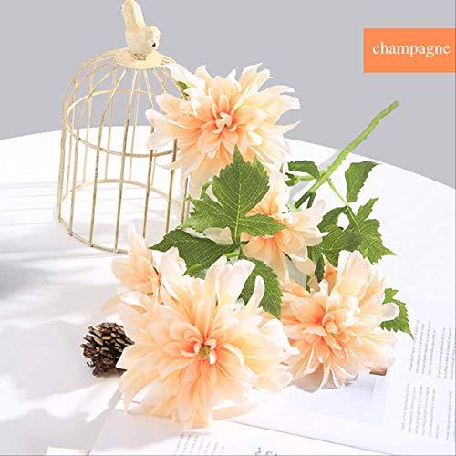 ZXL 3 stuks 3 hoofden Dahlia Plant Charmante Thuis Tuin Bloem Bloemen Interieur Decor Bloem Woonkamer Decoratie Wit