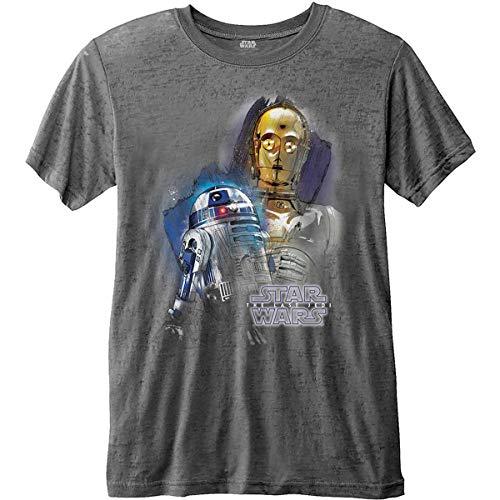 T-Shirt # S Grey Unisex # Episode VIII Droids Portrait